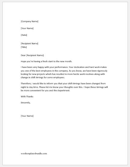 Notification Letter to Employee for Shift Change Formal Word Templates