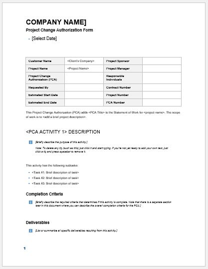 Project Change Authorization Form MS Word Formal Word Templates