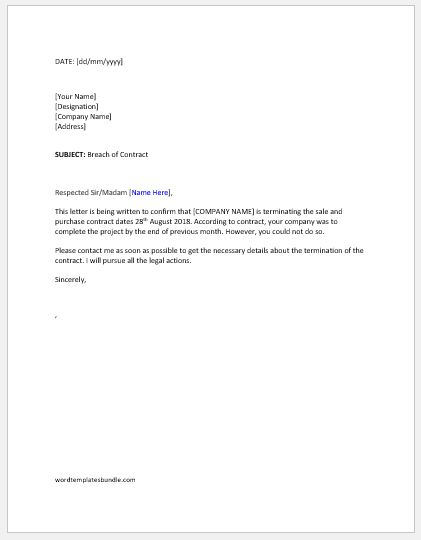 Breach of Contract Termination Letter Formal Word Templates