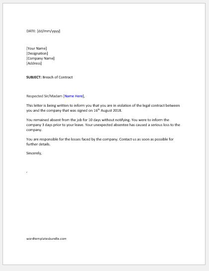 Breach of Contract Letter to Employee Formal Word Templates