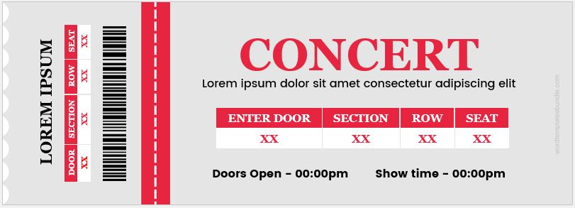 concert ticket template word - 28 images - 6 ticket templates for - Concert Ticket Templates