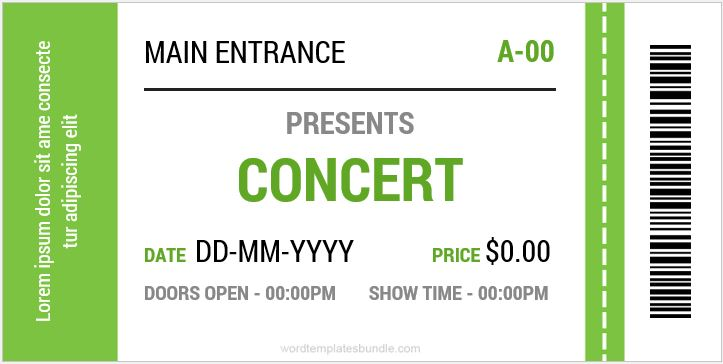 concert ticket templates - Ozilalmanoof - Concert Ticket Templates