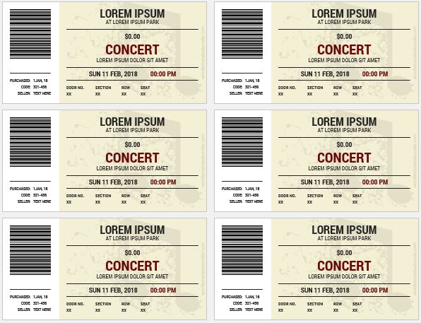 Dance Event Ticket Templates MS word Formal Word Templates