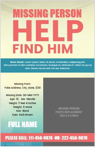 5 Editable Missing Person Poster Templates Formal Word Templates - missing person posters