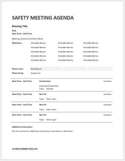 Safety Meeting Agenda Templates Formal Word Templates