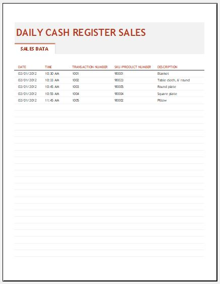 General Store Daily Sales Report Template Formal Word Templates