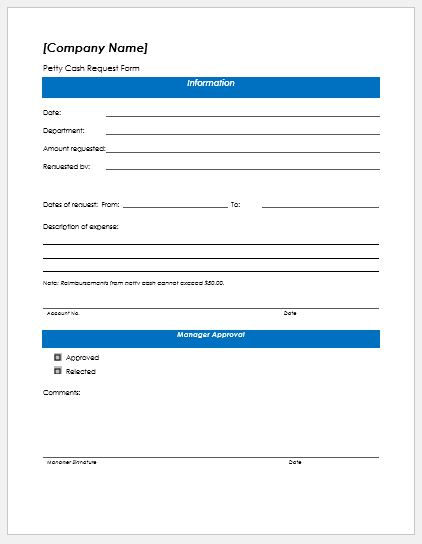 Petty Cash Request Form Templates Formal Word Templates - petty cash request form