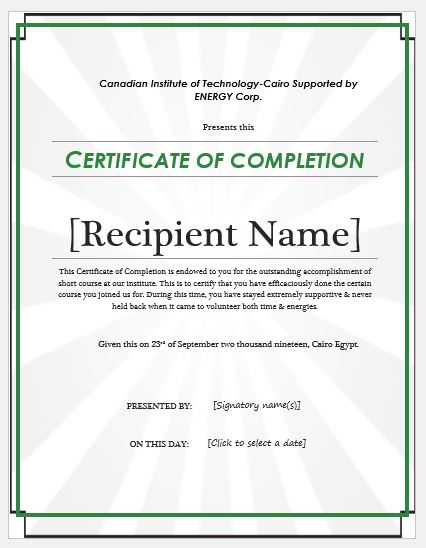 Certificate of Completion Wording  Templates Formal Word Templates