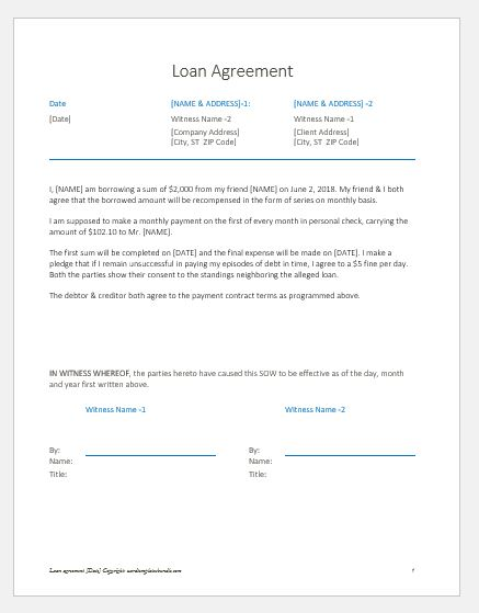 Loan Agreement Letter/Note between Friends Formal Word Templates