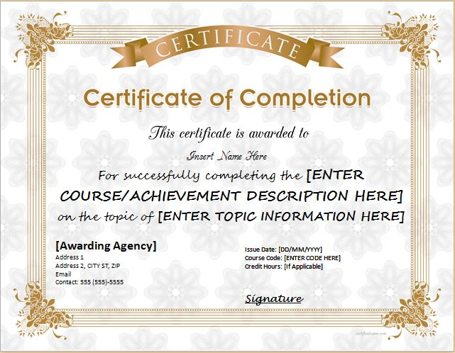 Certificates Of Completion Templates For Microsoft Word Stationery - award certificate template microsoft word