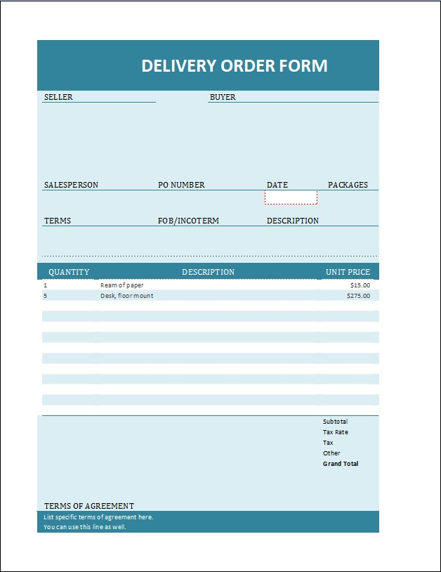 MS Word Delivery Order Forms Microsoft Word  Excel Templates