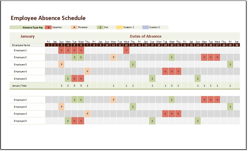 Employee Absence Schedule Template for Excel xls Microsoft Word