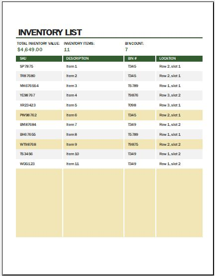 Warehouse Inventory List Template Microsoft Word \ Excel Templates - inventory list template