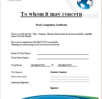 Construction Work Completion Certificate Microsoft Word  Excel