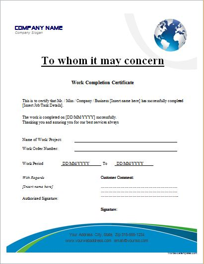 Work Completion Certificates for MS Word Microsoft Word  Excel