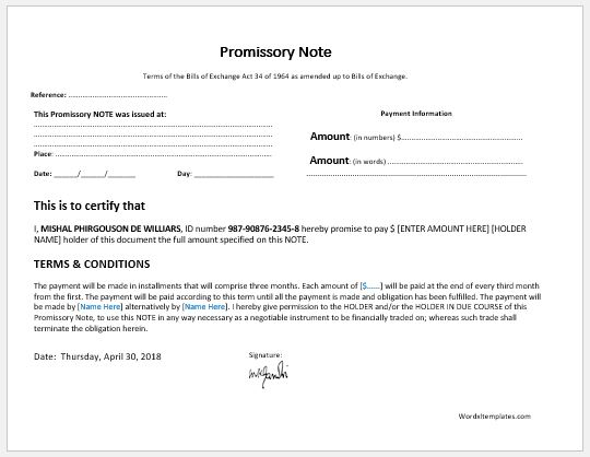 Promissory Note Templates for MS Word Microsoft Word  Excel Templates - promisary note template