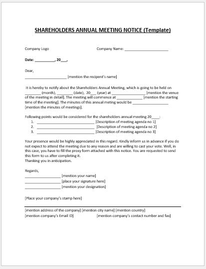 Shareholder Annual Meeting Notice MS Word Template Microsoft Word