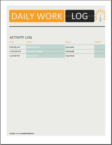 3 Best Daily Activity Log Templates Microsoft Word  Excel Templates