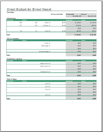 Event Expense Calculator Template Microsoft Word  Excel Templates