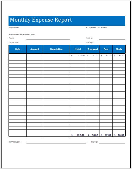Monthly Expense Report Worksheet Template Microsoft Word  Excel