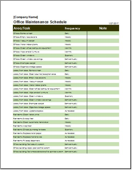 Office Maintenance Checklist Templates Microsoft Word  Excel