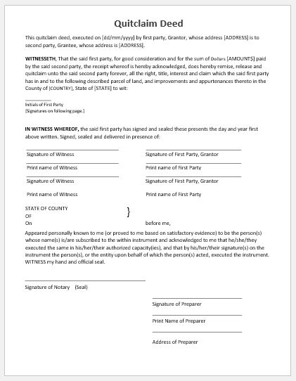 Quitclaim Deed Template MS Word Microsoft Word  Excel Templates