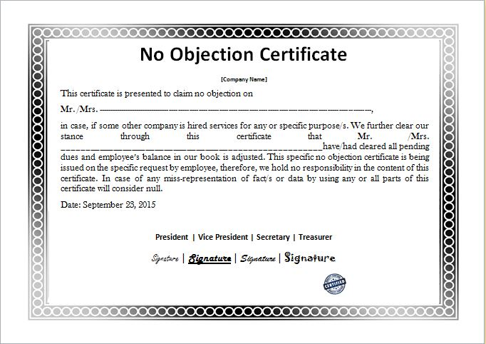 ... No Objection Certificate Templates Microsoft Word \ Excel Templates   No  Objection Certificate Template ...  No Objection Certificate Template
