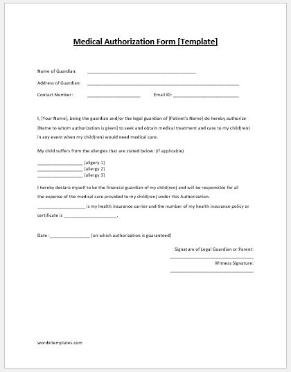 Medical Authorization Form MS Word Template Microsoft Word  Excel