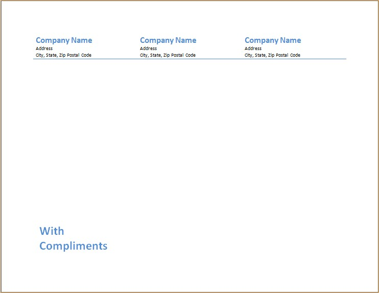 Compliment Slip Template Microsoft Word  Excel Templates