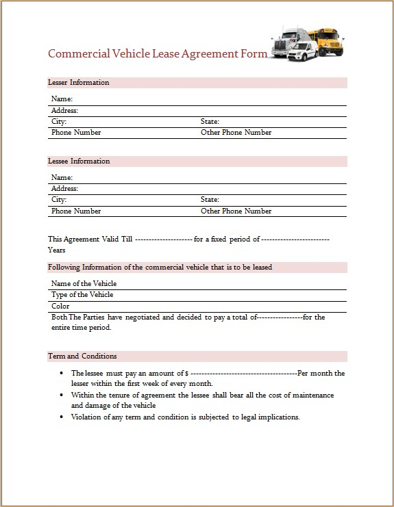 Commercial Vehicle Lease Agreement Form Microsoft Word  Excel