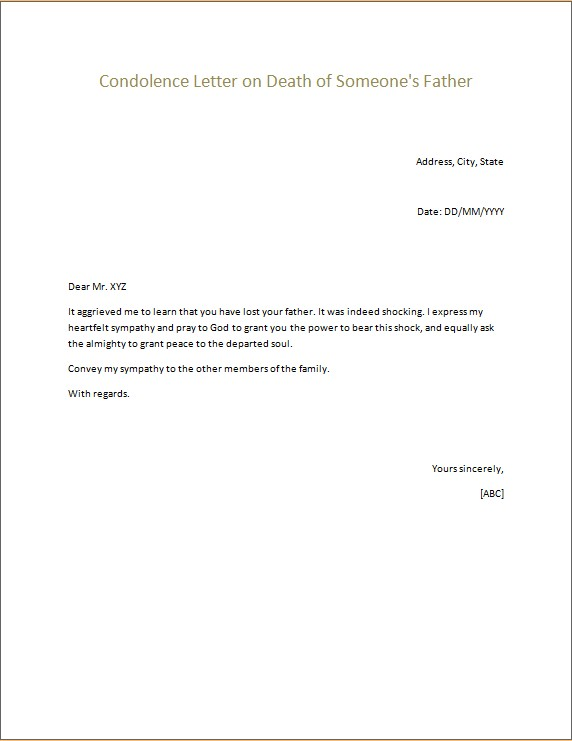 Condolence Letters Microsoft Word  Excel Templates - condolence letter