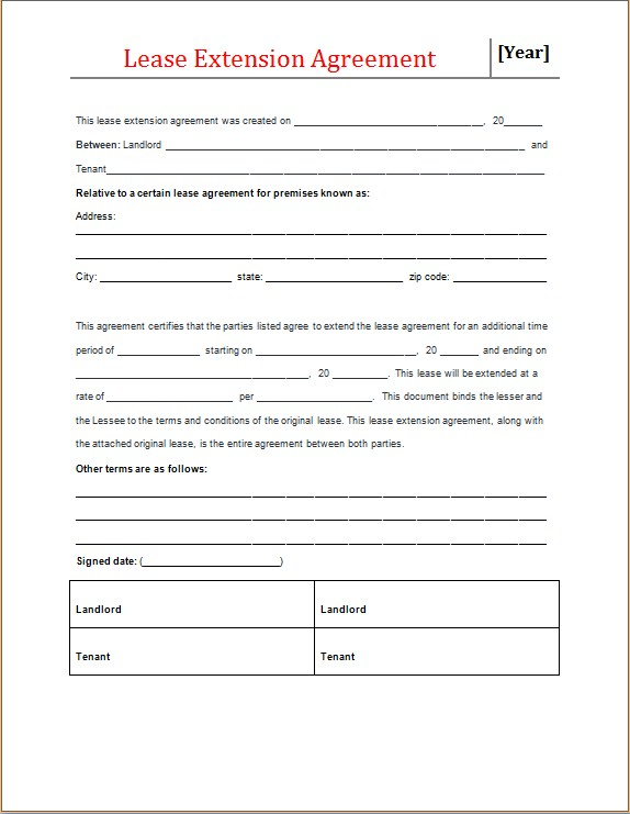 Lease Extension Agreement Form Microsoft Word  Excel Templates - lease extension agreement