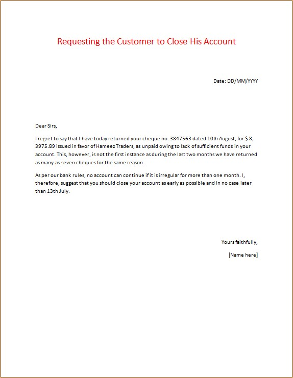 Banking Correspondence Letter Sample Microsoft Word  Excel Templates