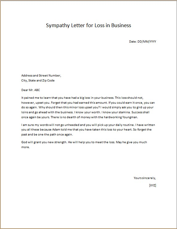 Sympathy and Condolence sample Letters Microsoft Word  Excel - condolence sample note
