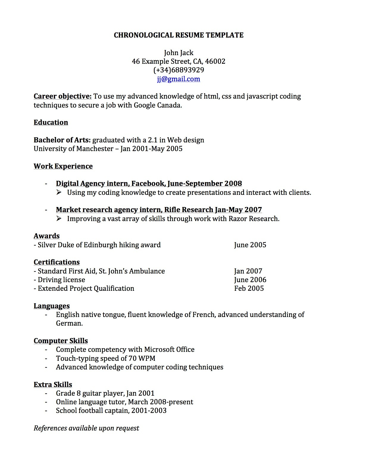 resume in spanish language