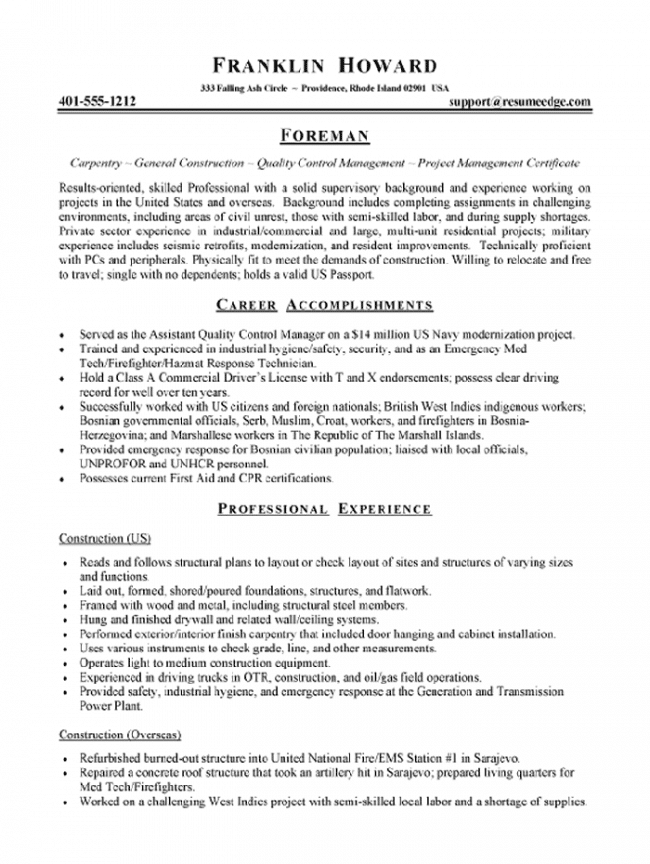 Construction foreman resume examples