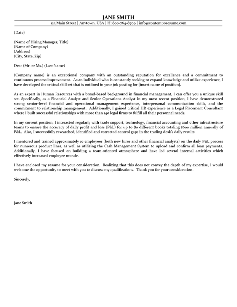 Human Resource Cover Letters Gallery - Cover Letter Ideas
