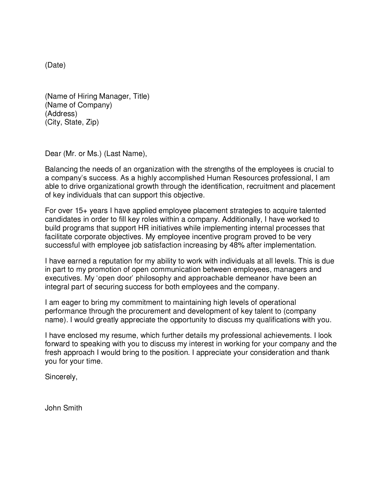 cover letter for consultant position