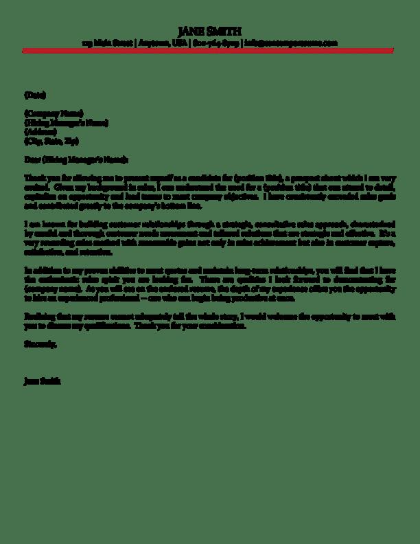sales order cover letter