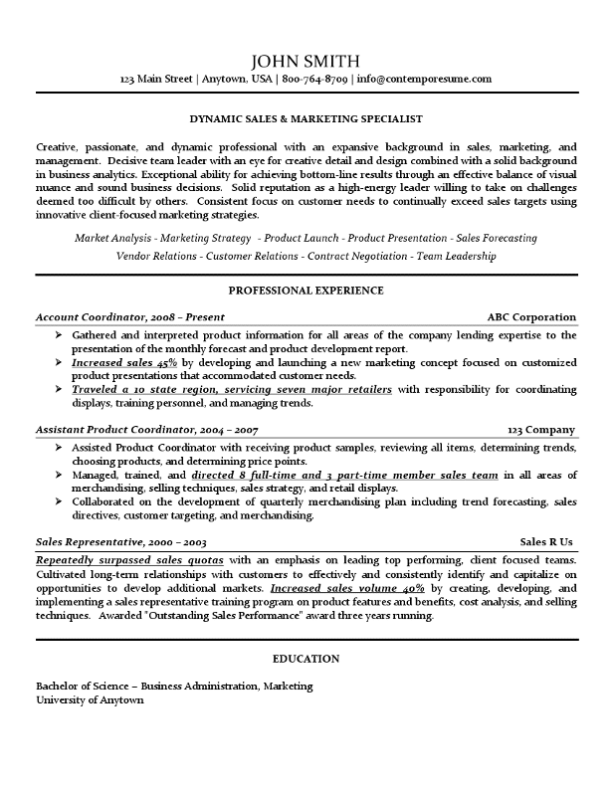 sales marketing specialist resume use of lines bold