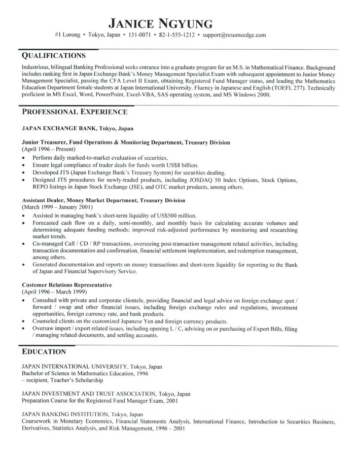 resume for applying to graduate school sample