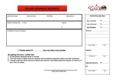 Salary Advance Request – Welcome to work avenue