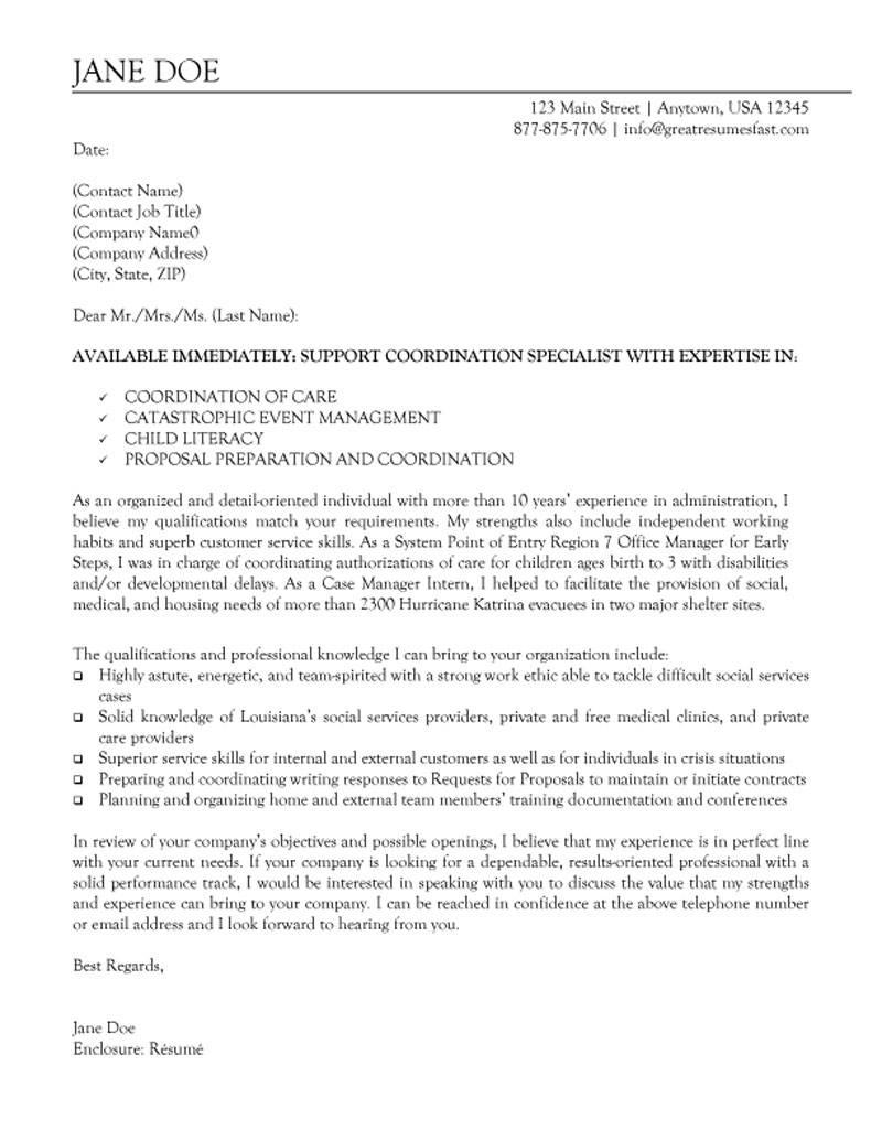 cover letter for program manager non profit