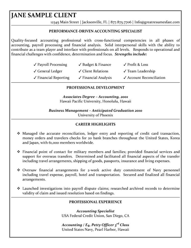Accounting Specialist Resume - resume degree