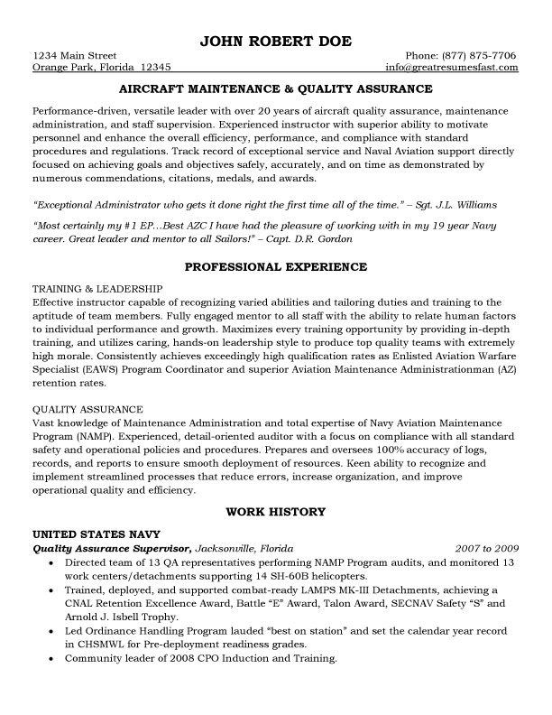 quality assurance description in resume