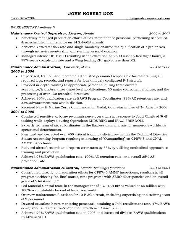 Aircraft Maintenance and Quality Assurance Resume - Maintenance Supervisor Resume Sample