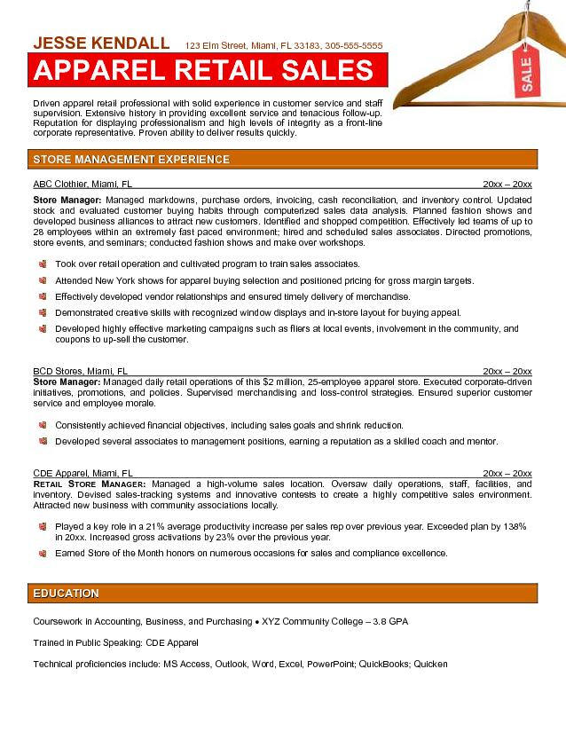 resume examples for clothing retail stores