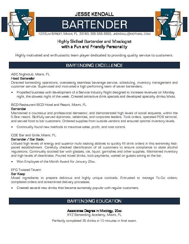 Mixologist Resume Example - Examples of Resumes