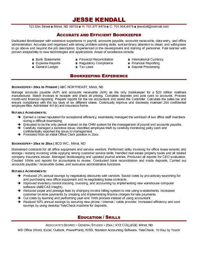 bookkeeper resume samples free