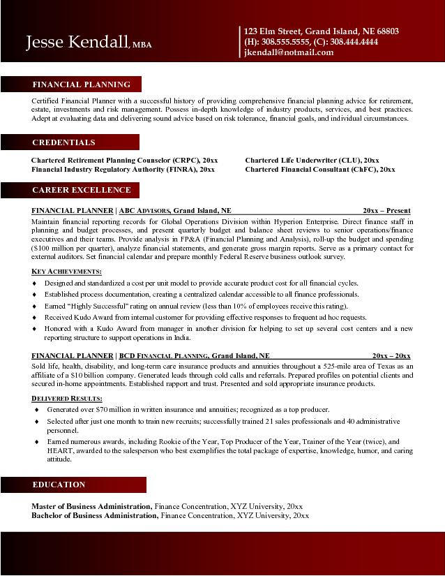 financial advisor sample resume